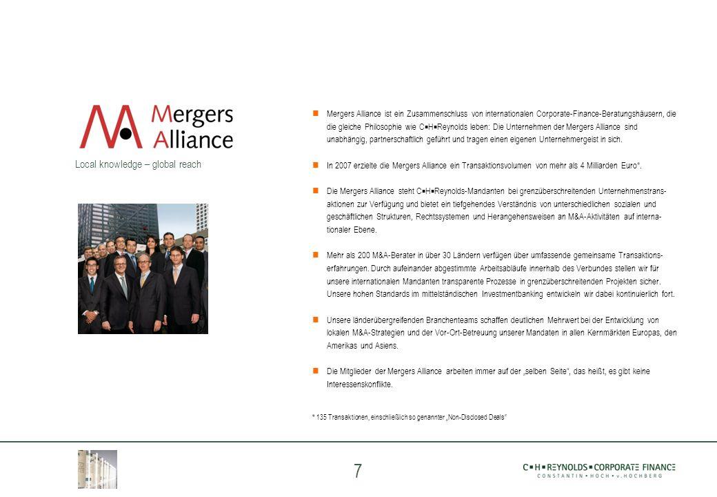 7 Mergers Alliance ist ein Zusammenschluss von internationalen Corporate-Finance-Beratungshäusern, die die gleiche Philosophie wie C H Reynolds leben: