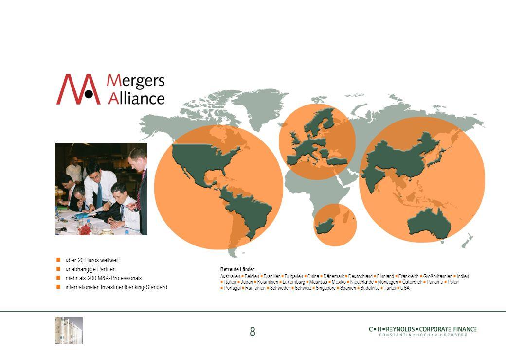 8 über 20 Büros weltweit unabhängige Partner mehr als 200 M&A-Professionals internationaler Investmentbanking-Standard Betreute Länder: Australien Bel
