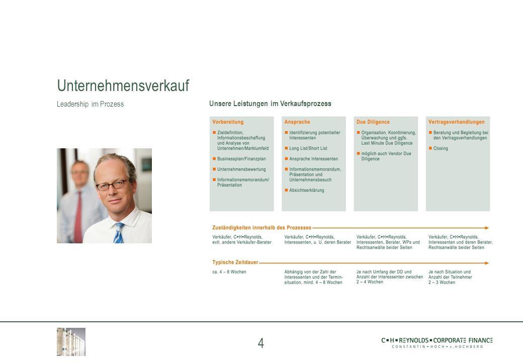 4 Unsere Leistungen im Verkaufsprozess Unternehmensverkauf Leadership im Prozess