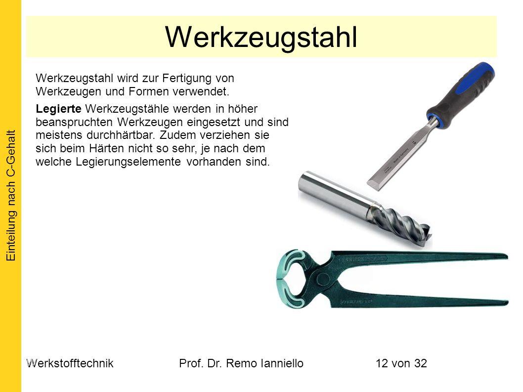 WerkstofftechnikProf. Dr. Remo Ianniello12 von 32 Werkzeugstahl wird zur Fertigung von Werkzeugen und Formen verwendet. Legierte Werkzeugstähle werden