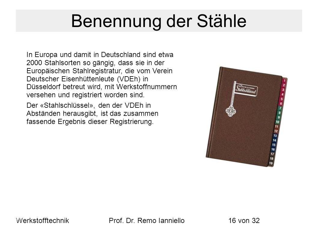 WerkstofftechnikProf. Dr. Remo Ianniello16 von 32 In Europa und damit in Deutschland sind etwa 2000 Stahlsorten so gängig, dass sie in der Europäische