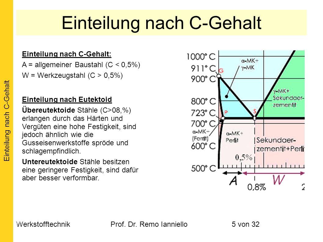 WerkstofftechnikProf. Dr. Remo Ianniello5 von 32 Einteilung nach C-Gehalt: A = allgemeiner Baustahl (C < 0,5%) W = Werkzeugstahl (C > 0,5%) Einteilung