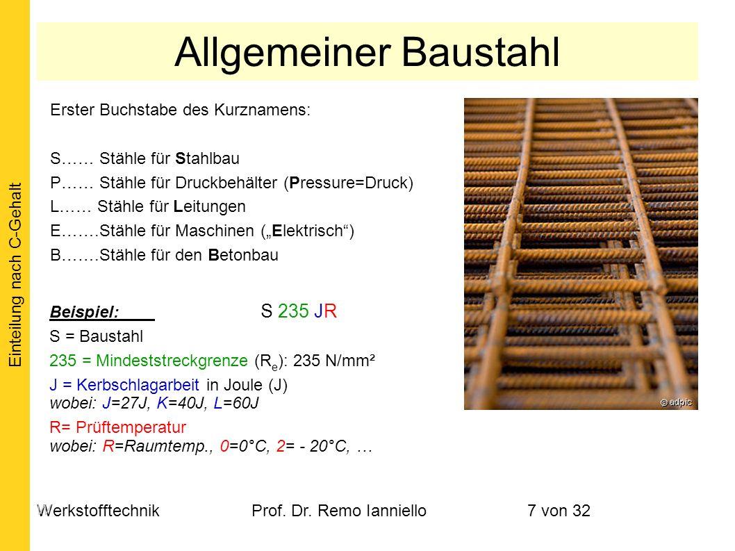 WerkstofftechnikProf. Dr. Remo Ianniello7 von 32 Erster Buchstabe des Kurznamens: S…… Stähle für Stahlbau P…… Stähle für Druckbehälter (Pressure=Druck