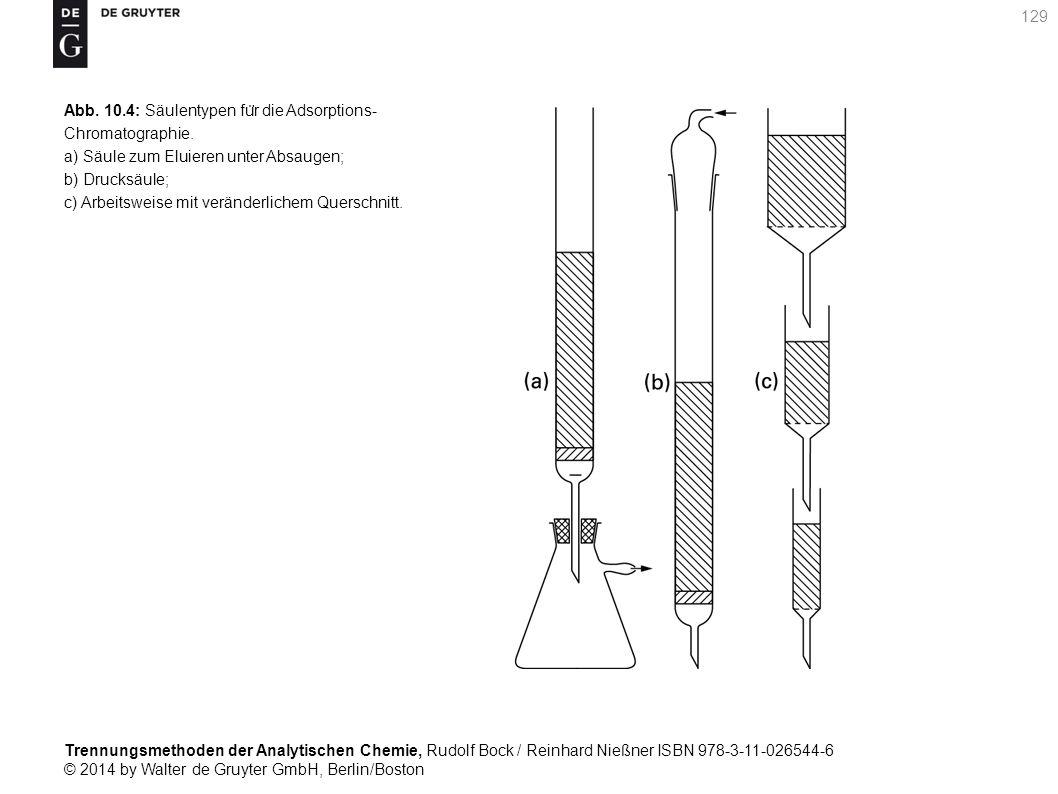 Trennungsmethoden der Analytischen Chemie, Rudolf Bock / Reinhard Nießner ISBN 978-3-11-026544-6 © 2014 by Walter de Gruyter GmbH, Berlin/Boston 129 Abb.