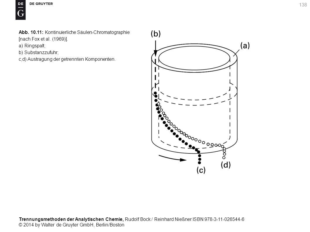 Trennungsmethoden der Analytischen Chemie, Rudolf Bock / Reinhard Nießner ISBN 978-3-11-026544-6 © 2014 by Walter de Gruyter GmbH, Berlin/Boston 138 Abb.