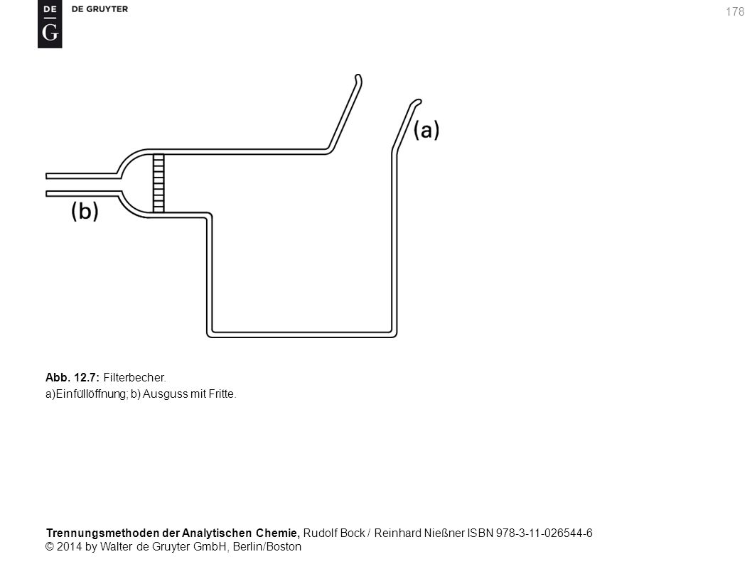 Trennungsmethoden der Analytischen Chemie, Rudolf Bock / Reinhard Nießner ISBN 978-3-11-026544-6 © 2014 by Walter de Gruyter GmbH, Berlin/Boston 178 Abb.