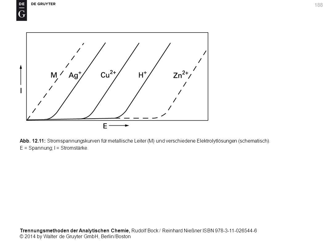 Trennungsmethoden der Analytischen Chemie, Rudolf Bock / Reinhard Nießner ISBN 978-3-11-026544-6 © 2014 by Walter de Gruyter GmbH, Berlin/Boston 188 Abb.