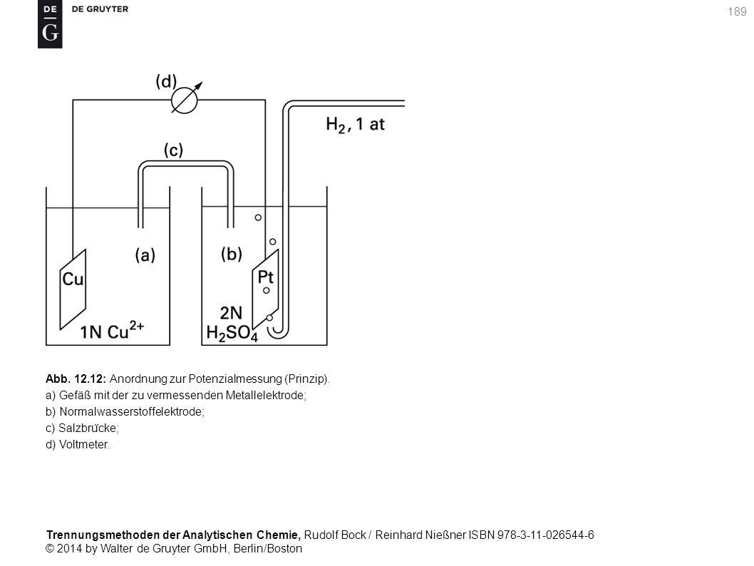 Trennungsmethoden der Analytischen Chemie, Rudolf Bock / Reinhard Nießner ISBN 978-3-11-026544-6 © 2014 by Walter de Gruyter GmbH, Berlin/Boston 189 Abb.