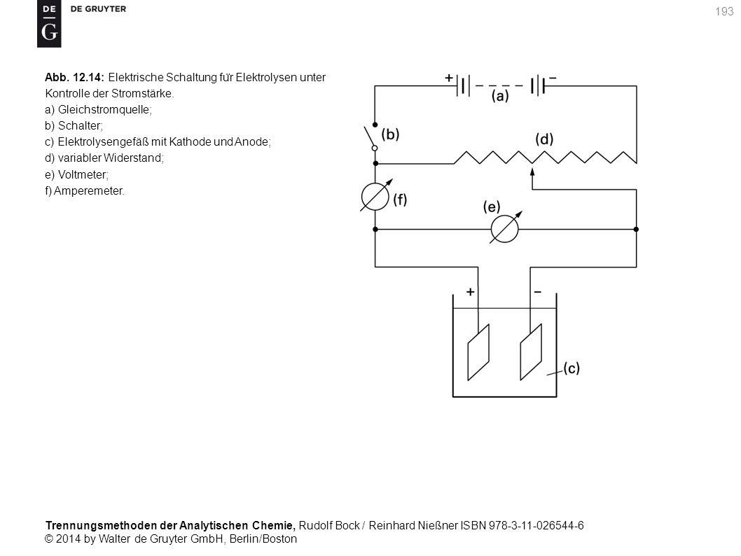 Trennungsmethoden der Analytischen Chemie, Rudolf Bock / Reinhard Nießner ISBN 978-3-11-026544-6 © 2014 by Walter de Gruyter GmbH, Berlin/Boston 193 Abb.