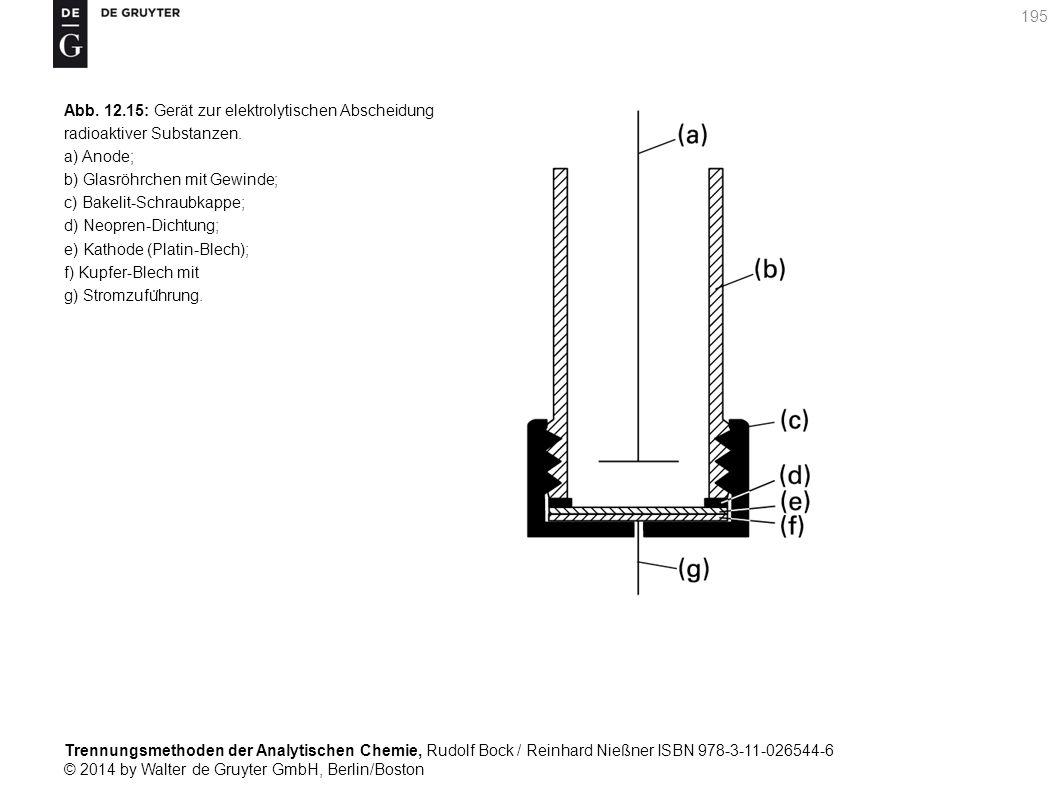 Trennungsmethoden der Analytischen Chemie, Rudolf Bock / Reinhard Nießner ISBN 978-3-11-026544-6 © 2014 by Walter de Gruyter GmbH, Berlin/Boston 195 Abb.