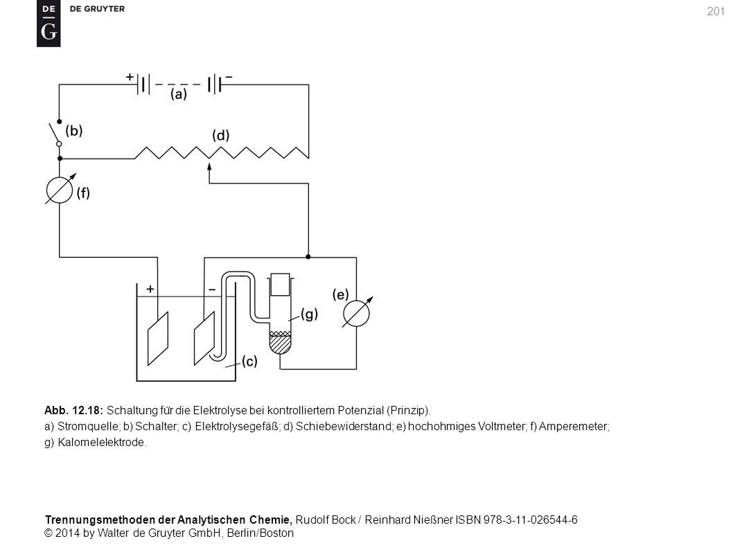 Trennungsmethoden der Analytischen Chemie, Rudolf Bock / Reinhard Nießner ISBN 978-3-11-026544-6 © 2014 by Walter de Gruyter GmbH, Berlin/Boston 201 Abb.
