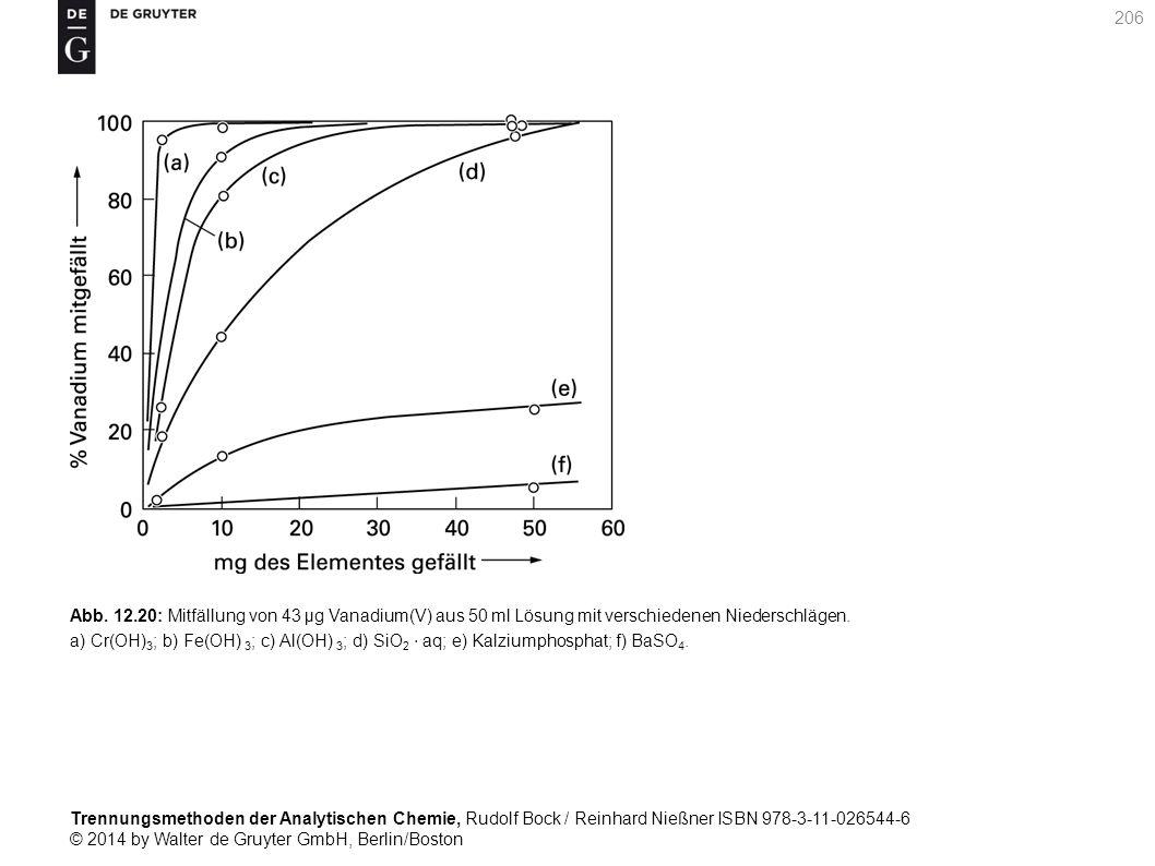 Trennungsmethoden der Analytischen Chemie, Rudolf Bock / Reinhard Nießner ISBN 978-3-11-026544-6 © 2014 by Walter de Gruyter GmbH, Berlin/Boston 206 Abb.