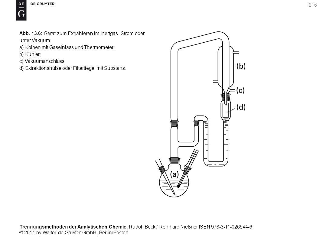 Trennungsmethoden der Analytischen Chemie, Rudolf Bock / Reinhard Nießner ISBN 978-3-11-026544-6 © 2014 by Walter de Gruyter GmbH, Berlin/Boston 216 Abb.