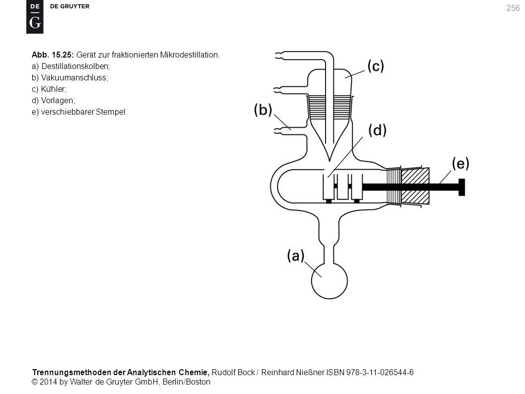Trennungsmethoden der Analytischen Chemie, Rudolf Bock / Reinhard Nießner ISBN 978-3-11-026544-6 © 2014 by Walter de Gruyter GmbH, Berlin/Boston 256 Abb.
