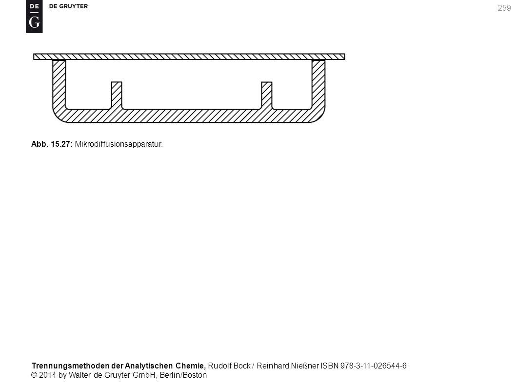 Trennungsmethoden der Analytischen Chemie, Rudolf Bock / Reinhard Nießner ISBN 978-3-11-026544-6 © 2014 by Walter de Gruyter GmbH, Berlin/Boston 259 Abb.