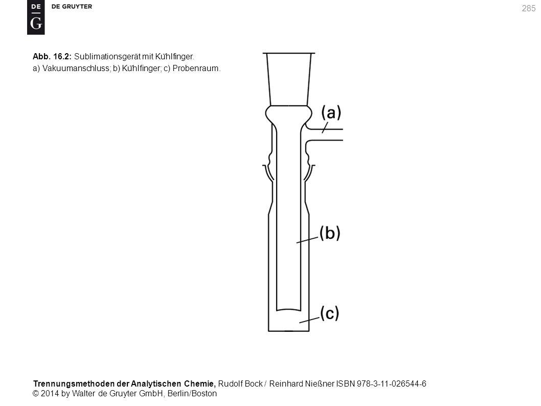 Trennungsmethoden der Analytischen Chemie, Rudolf Bock / Reinhard Nießner ISBN 978-3-11-026544-6 © 2014 by Walter de Gruyter GmbH, Berlin/Boston 285 Abb.