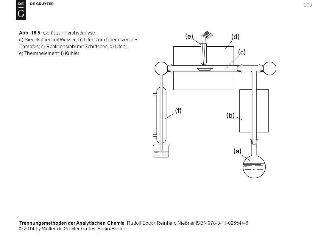 Trennungsmethoden der Analytischen Chemie, Rudolf Bock / Reinhard Nießner ISBN 978-3-11-026544-6 © 2014 by Walter de Gruyter GmbH, Berlin/Boston 290 Abb.