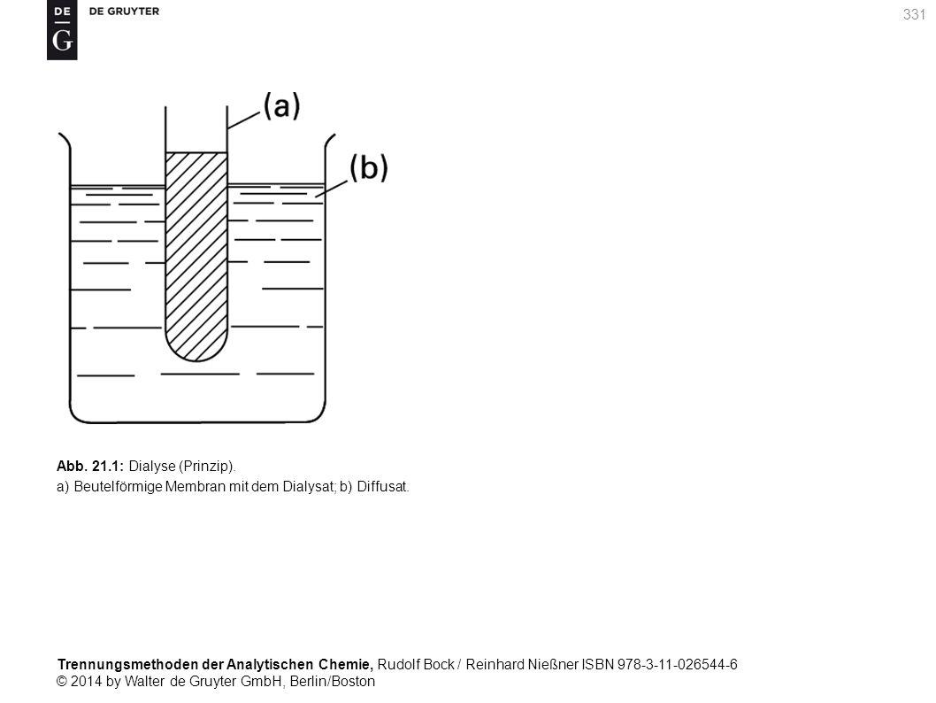 Trennungsmethoden der Analytischen Chemie, Rudolf Bock / Reinhard Nießner ISBN 978-3-11-026544-6 © 2014 by Walter de Gruyter GmbH, Berlin/Boston 331 Abb.