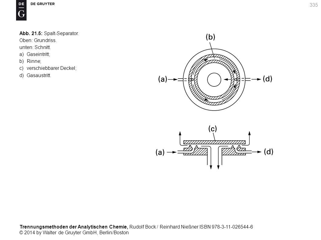 Trennungsmethoden der Analytischen Chemie, Rudolf Bock / Reinhard Nießner ISBN 978-3-11-026544-6 © 2014 by Walter de Gruyter GmbH, Berlin/Boston 335 Abb.