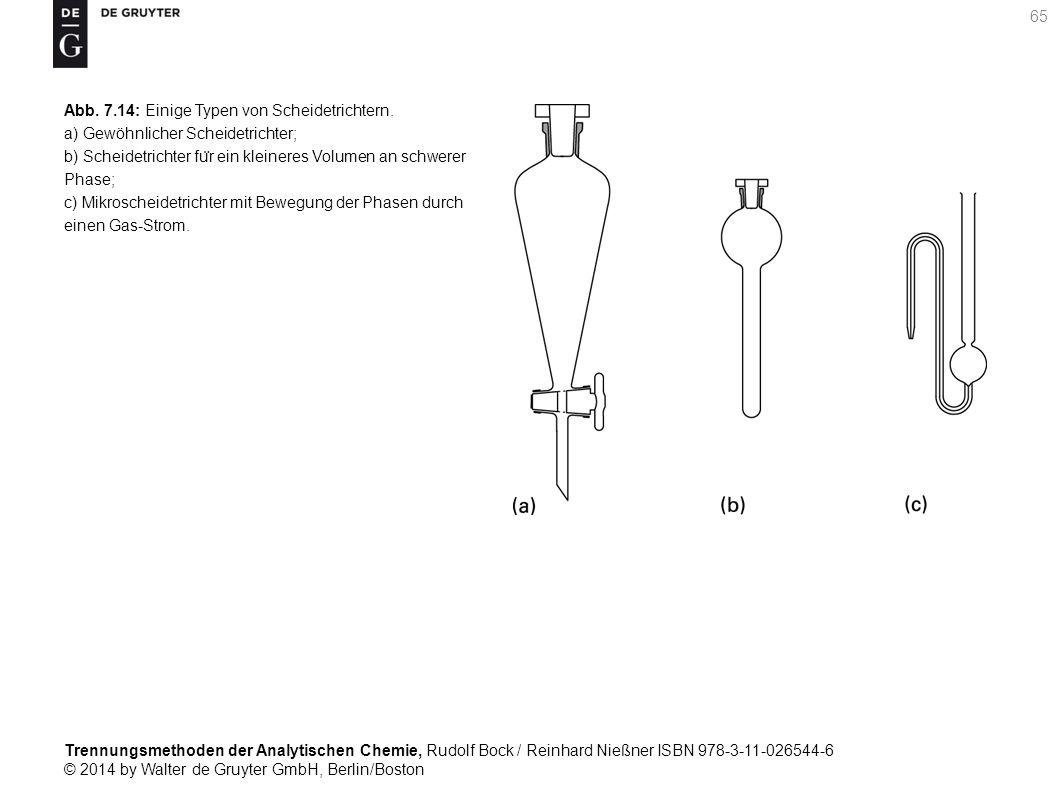 Trennungsmethoden der Analytischen Chemie, Rudolf Bock / Reinhard Nießner ISBN 978-3-11-026544-6 © 2014 by Walter de Gruyter GmbH, Berlin/Boston 65 Abb.