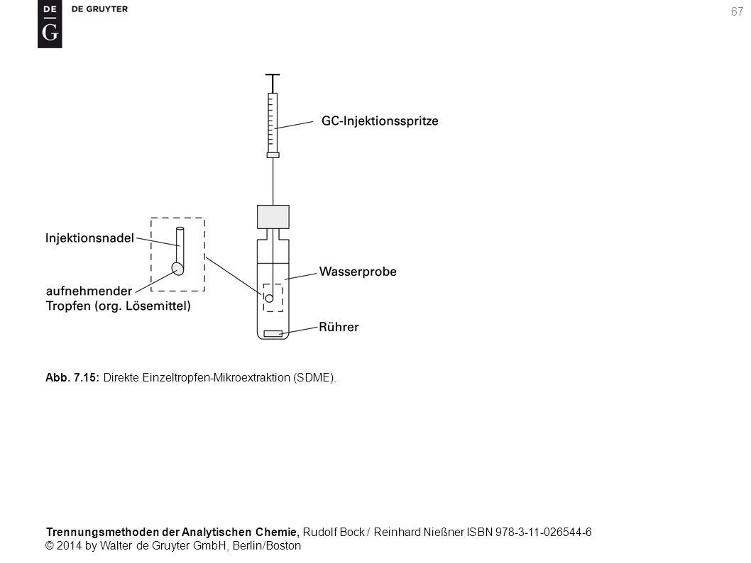 Trennungsmethoden der Analytischen Chemie, Rudolf Bock / Reinhard Nießner ISBN 978-3-11-026544-6 © 2014 by Walter de Gruyter GmbH, Berlin/Boston 67 Abb.