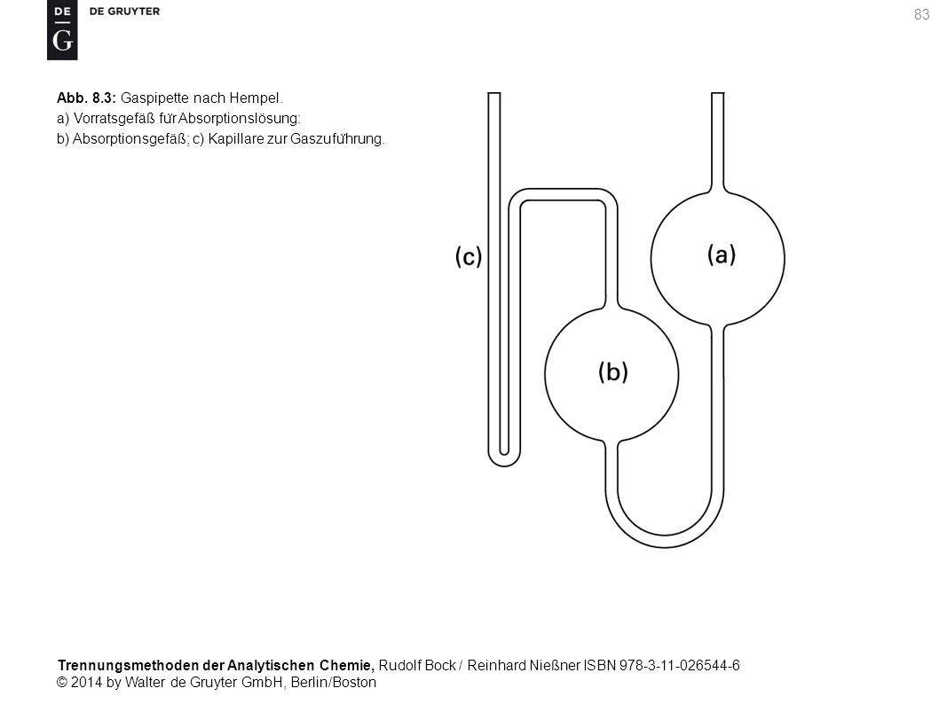 Trennungsmethoden der Analytischen Chemie, Rudolf Bock / Reinhard Nießner ISBN 978-3-11-026544-6 © 2014 by Walter de Gruyter GmbH, Berlin/Boston 83 Abb.
