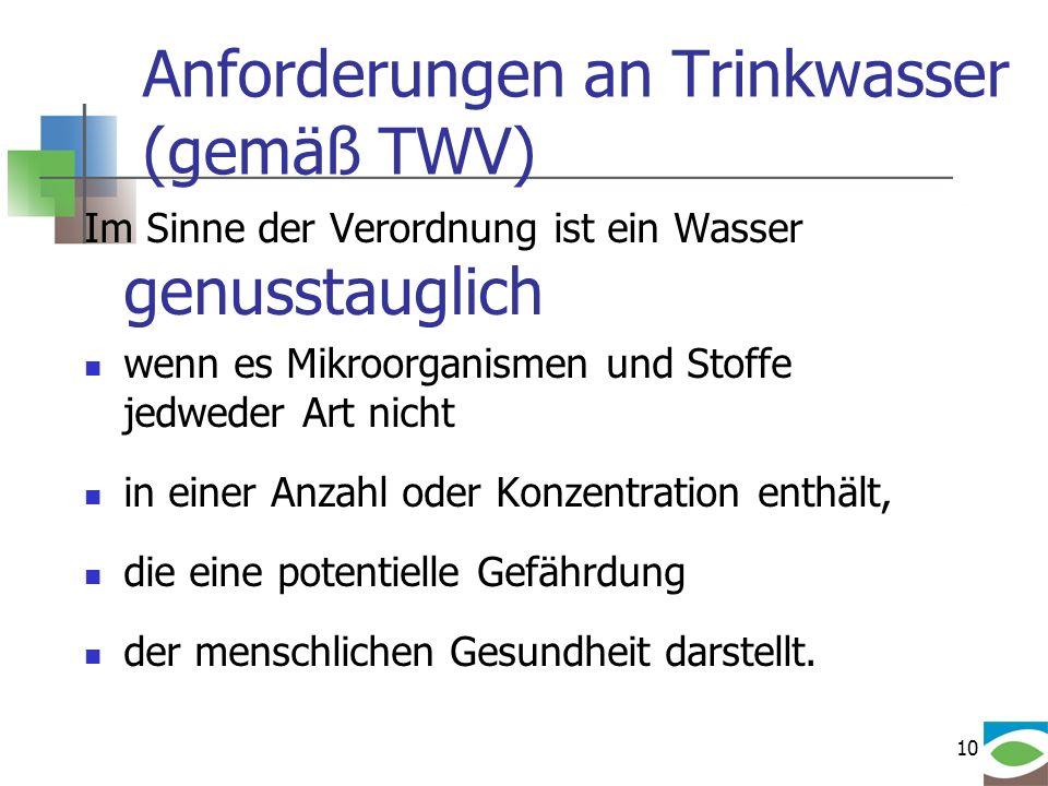 10 Anforderungen an Trinkwasser (gemäß TWV) Im Sinne der Verordnung ist ein Wasser genusstauglich wenn es Mikroorganismen und Stoffe jedweder Art nich
