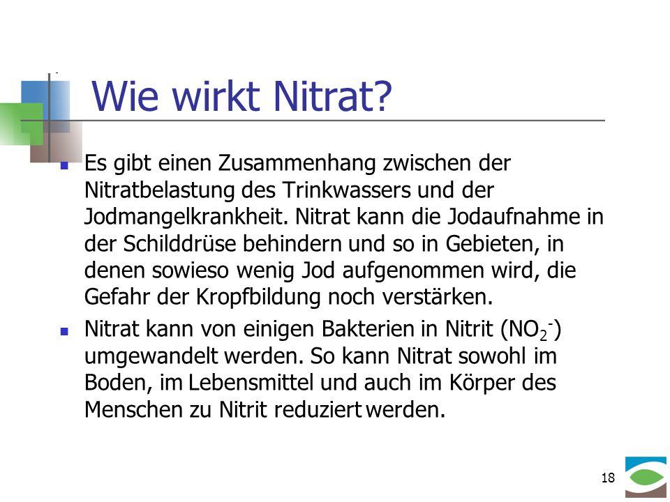 18 Wie wirkt Nitrat? Es gibt einen Zusammenhang zwischen der Nitratbelastung des Trinkwassers und der Jodmangelkrankheit. Nitrat kann die Jodaufnahme