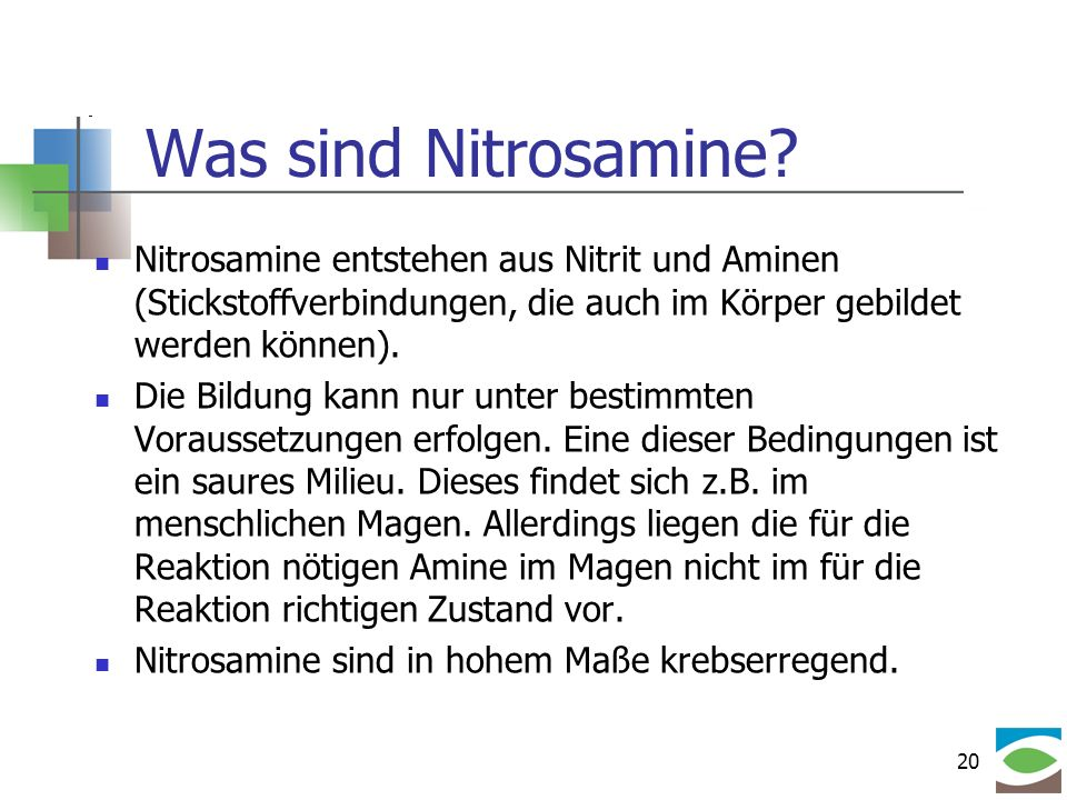 20 Was sind Nitrosamine? Nitrosamine entstehen aus Nitrit und Aminen (Stickstoffverbindungen, die auch im Körper gebildet werden können). Die Bildung