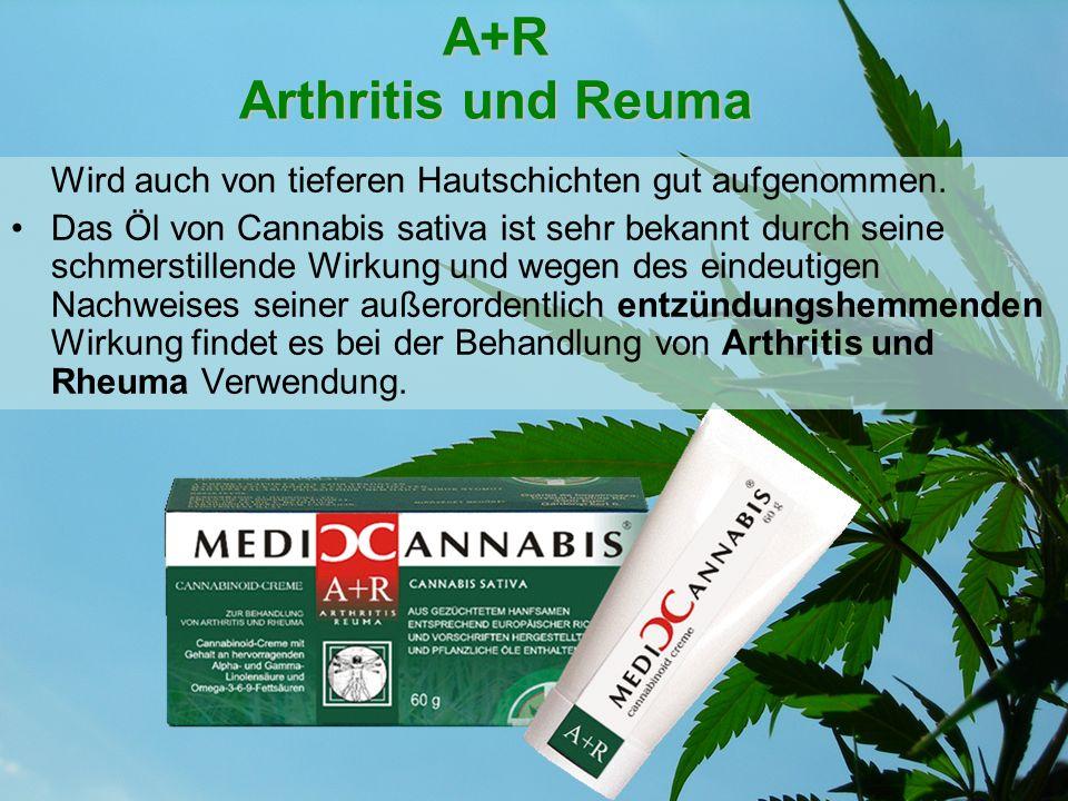 A+R Arthritis und Reuma Wird auch von tieferen Hautschichten gut aufgenommen. Das Öl von Cannabis sativa ist sehr bekannt durch seine schmerstillende