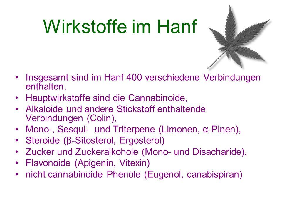 Wirkstoffe im Hanf Insgesamt sind im Hanf 400 verschiedene Verbindungen enthalten. Hauptwirkstoffe sind die Cannabinoide, Alkaloide und andere Stickst