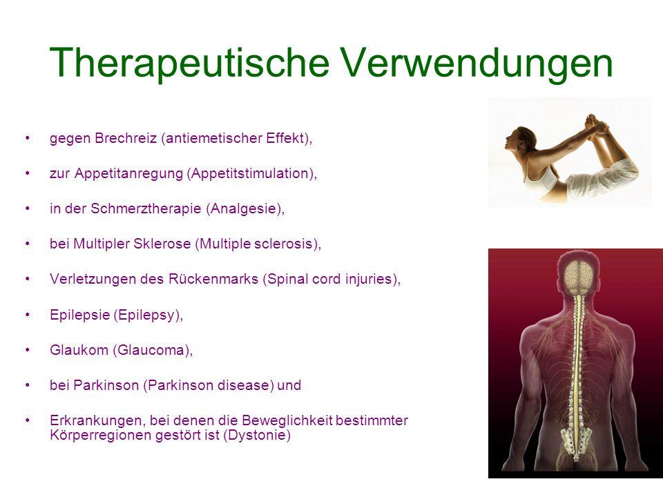 Therapeutische Verwendungen gegen Brechreiz (antiemetischer Effekt), zur Appetitanregung (Appetitstimulation), in der Schmerztherapie (Analgesie), bei Multipler Sklerose (Multiple sclerosis), Verletzungen des Rückenmarks (Spinal cord injuries), Epilepsie (Epilepsy), Glaukom (Glaucoma), bei Parkinson (Parkinson disease) und Erkrankungen, bei denen die Beweglichkeit bestimmter Körperregionen gestört ist (Dystonie)