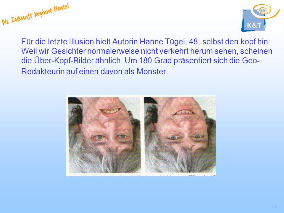 14 Für die letzte Illusion hielt Autorin Hanne Tügel, 48, selbst den kopf hin: Weil wir Gesichter normalerweise nicht verkehrt herum sehen, scheinen d