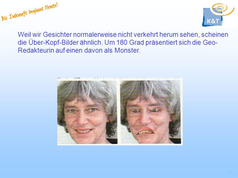 15 Weil wir Gesichter normalerweise nicht verkehrt herum sehen, scheinen die Über-Kopf-Bilder ähnlich. Um 180 Grad präsentiert sich die Geo- Redakteur
