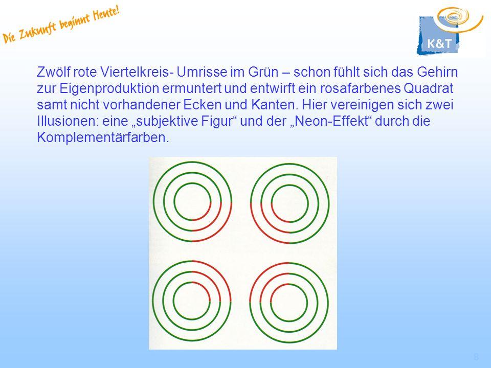 8 Zwölf rote Viertelkreis- Umrisse im Grün – schon fühlt sich das Gehirn zur Eigenproduktion ermuntert und entwirft ein rosafarbenes Quadrat samt nich