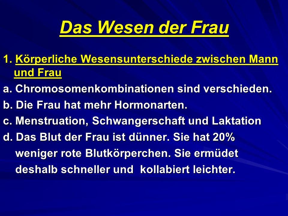 Das Wesen der Frau 1.Körperliche Wesensunterschiede zwischen Mann und Frau a.