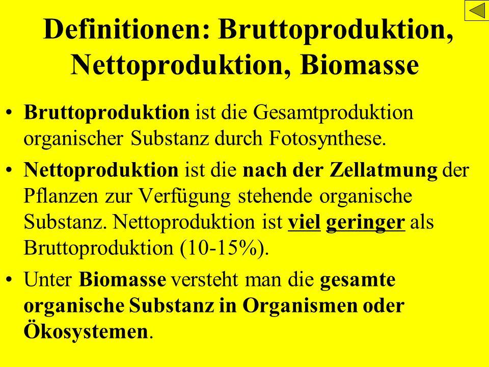 Definitionen: Bruttoproduktion, Nettoproduktion, Biomasse Bruttoproduktion ist die Gesamtproduktion organischer Substanz durch Fotosynthese. Nettoprod