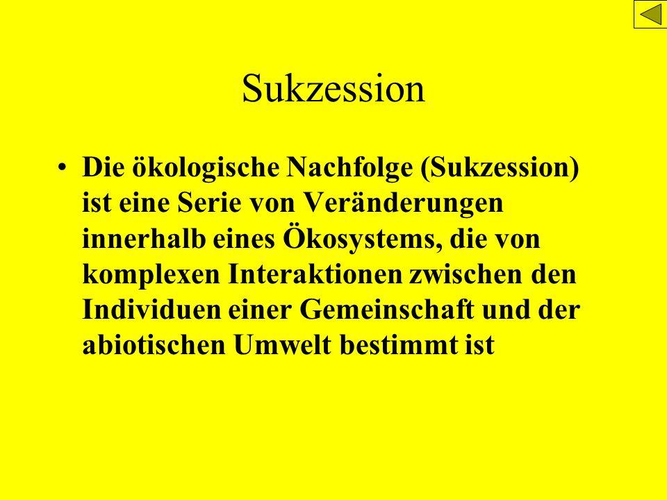 Sukzession Die ökologische Nachfolge (Sukzession) ist eine Serie von Veränderungen innerhalb eines Ökosystems, die von komplexen Interaktionen zwische
