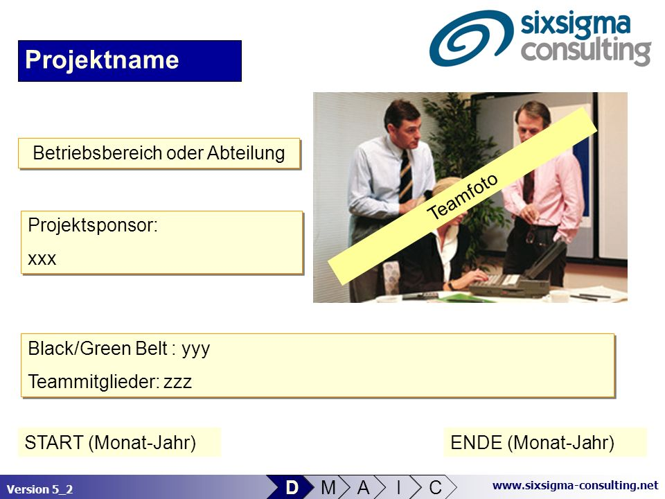 Version 5_2 www.sixsigma-consulting.net Link zu Dokumenten Projektname Teamfoto Black/Green Belt : yyy Teammitglieder: zzz Black/Green Belt : yyy Team
