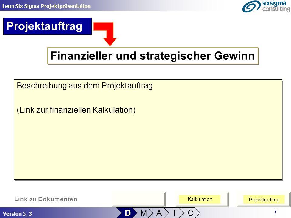 7 Lean Six Sigma Projektpräsentation Version 5_3 Link zu Dokumenten D M A I C Finanzieller und strategischer Gewinn Beschreibung aus dem Projektauftra