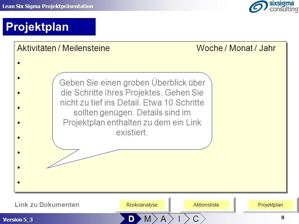 8 Lean Six Sigma Projektpräsentation Version 5_3 Link zu Dokumenten D M A I C Projektplan Aktivitäten / MeilensteineWoche / Monat / Jahr Aktivitäten /