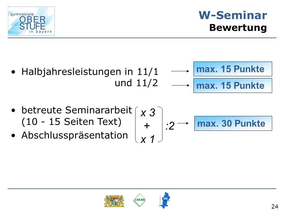 24 W-Seminar Bewertung Halbjahresleistungen in 11/1 und 11/2 betreute Seminararbeit (10 - 15 Seiten Text) Abschlusspräsentation max. 30 Punkte max. 15