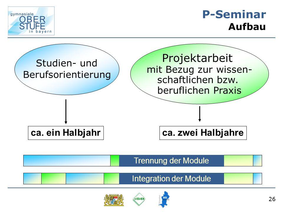 26 P-Seminar Aufbau Studien- und Berufsorientierung Projektarbeit mit Bezug zur wissen- schaftlichen bzw. beruflichen Praxis ca. ein Halbjahrca. zwei