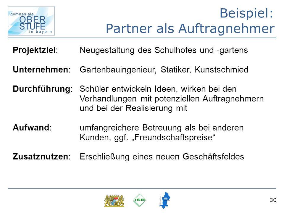 30 Beispiel: Partner als Auftragnehmer Projektziel: Neugestaltung des Schulhofes und -gartens Unternehmen: Gartenbauingenieur, Statiker, Kunstschmied