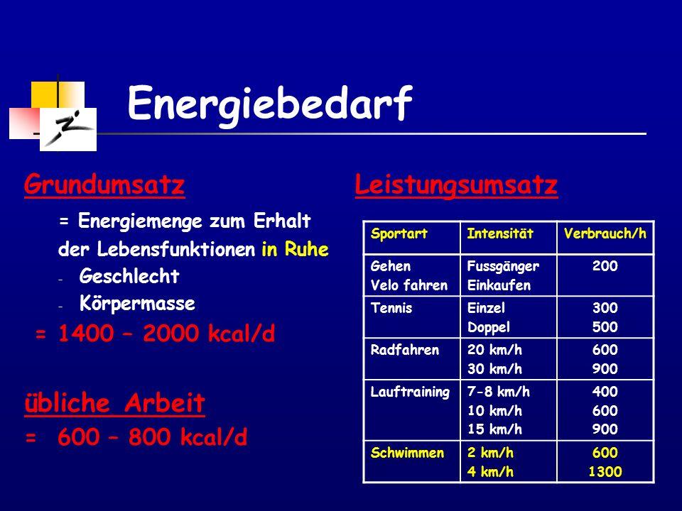 Energiebedarf Energiebedarf = Grundumsatz + Leistungsumsatz berufl.