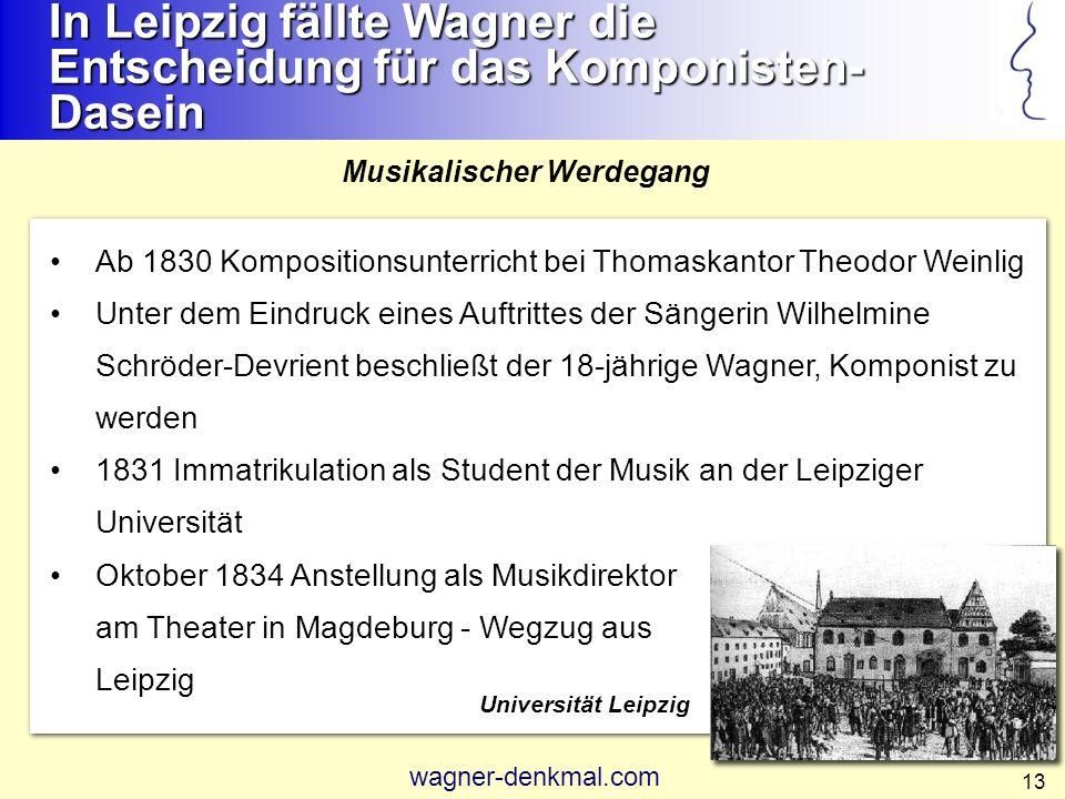 14 25.12.1830 erste öffentliche Aufführung eines Werkes: Ouvertüre B-Dur im Leipziger Theater ohne Nennung von Wagners Namen unter dem Dirigenten Heinrich Dorn (Lehrer Robert Schumanns) 1832 - 1834 verschiedentliche Aufführungen seiner Werke im Leipziger Alten Theater und im Gewandhaus, z.B.: -Ouvertüre C-dur -Ouvertüre d-moll -Symphonie C-dur Frühe Werkaufführungen Wagner machte hier seine ersten kompositorischen Versuche und feierte erste Erfolge Gewandhaus ca.