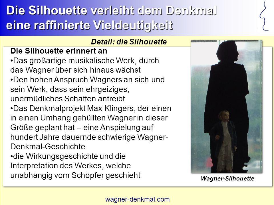 Kontraste des Denkmals, die zur Auseinandersetzung anregen Das Denkmal lädt zur Auseinandersetzung mit Werk und Schaffen Wagners ein Spannungsfeld zwischen menschlich gehaltenem Wagner und übergroßer Silhouette widerspiegelt Polarität des Wagner-Bildes Formkontrast von Balkenhol-Wagner und Klinger-Sockel gibt den Widerstreit von unkonventioneller und traditioneller Wagner-Auffassung wieder Entwurfsskizze Balkenhols wagner-denkmal.com