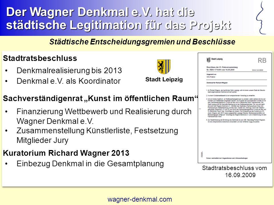 Städtische Entscheidungsgremien und Beschlüsse Stadtratsbeschluss Denkmalrealisierung bis 2013 Denkmal e.V.
