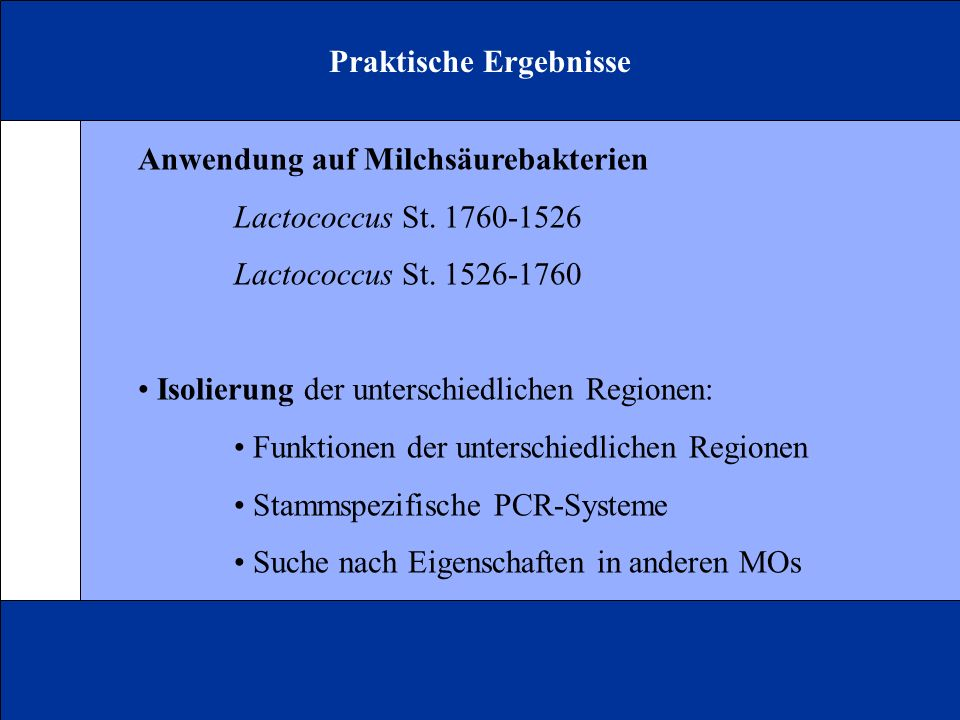 Praktische Ergebnisse Anwendung auf Milchsäurebakterien Lactococcus St. 1760-1526 Lactococcus St. 1526-1760 Isolierung der unterschiedlichen Regionen:
