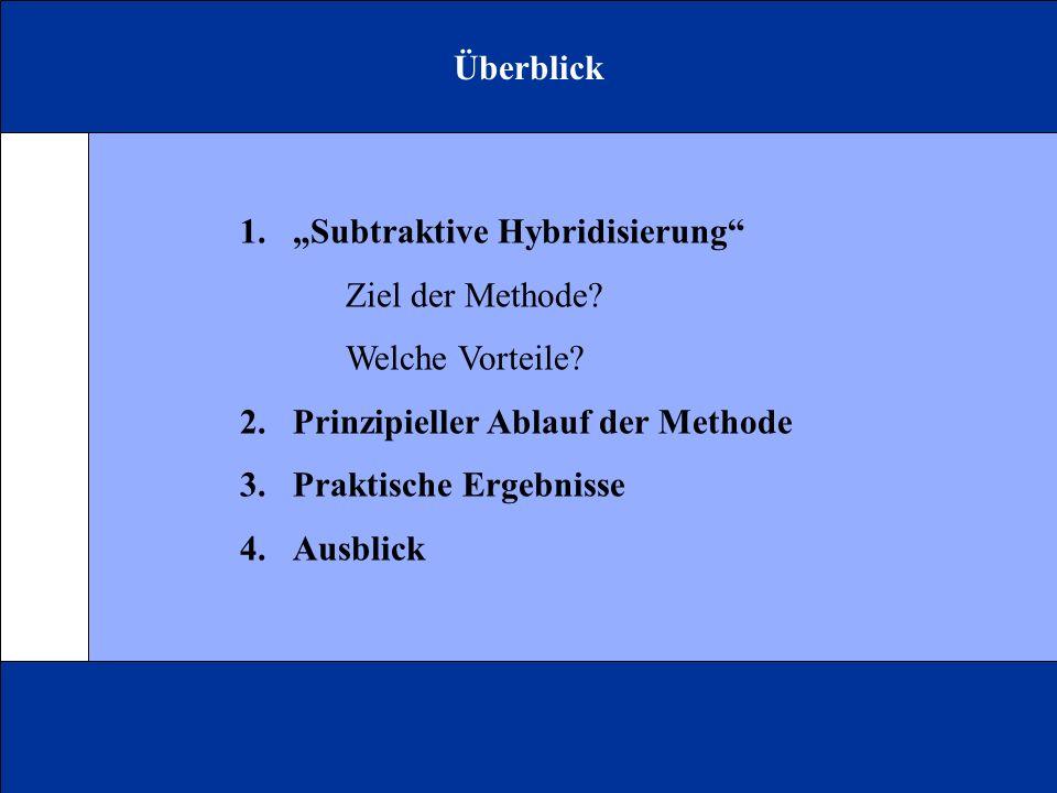 Überblick 1.Subtraktive Hybridisierung Ziel der Methode? Welche Vorteile? 2.Prinzipieller Ablauf der Methode 3.Praktische Ergebnisse 4.Ausblick